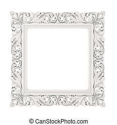 3d, cadre, blanc, fond