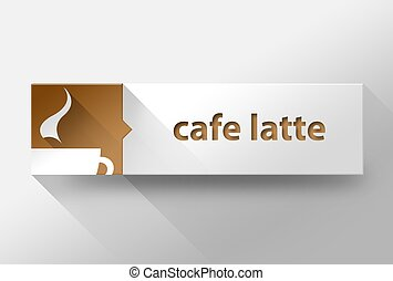 3d Cafe latte coffee flat design, illustration