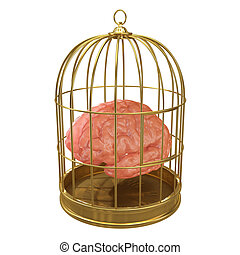3d Caged brain - 3d render of a brain in a golden cage