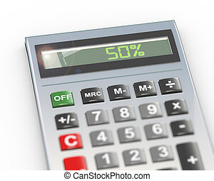 3d calculator word text 50 percent