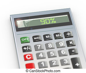 3d calculator word text 90 percent