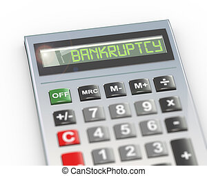 3d calculator word text bankruptcy - 3d illustration of ...
