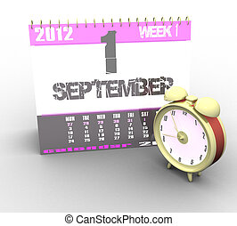3d calendar and alarm clock on a white background isolated