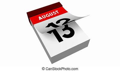 3D calendar - August