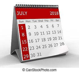 3d calendar isolated