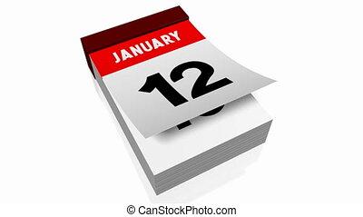 3D calendar - January