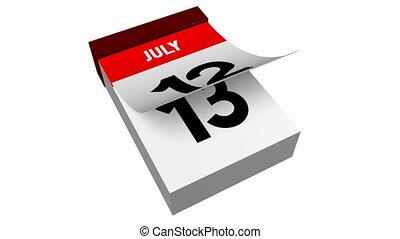3D calendar - July