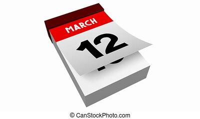 3D calendar - March