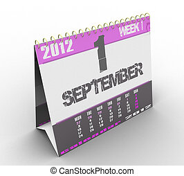 3d calendar on a white background isolated
