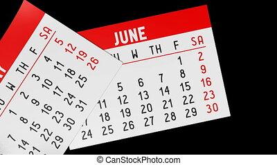 3D calendar on black background