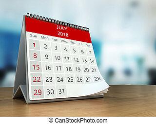 3d calendar on table