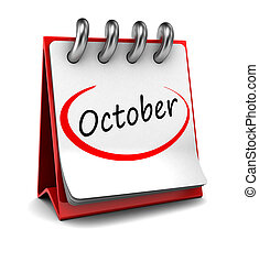 3d calendar with word October isolated on white background