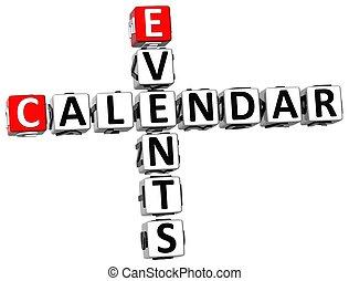 3d, calendario, acontecimientos, crucigrama