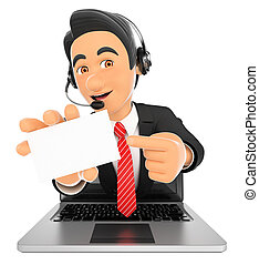 3D Call center employee coming out a laptop screen with a blank card