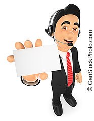 3D Call center employee with a blank card