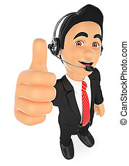 3D Call center employee with thumb up