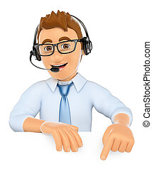 3D Call center worker pointing down. Blank space