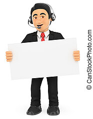 3D Call center worker standing with a blank poster