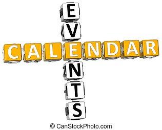 3D Callendar Events Crossword on white background