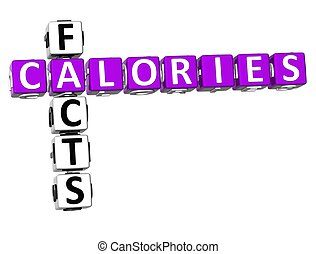 3D Calories Facts Crossword on white background