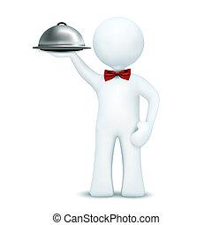 3d, camarero, alimento porción