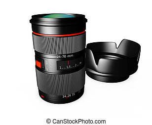 3d Camera Lens on a white background
