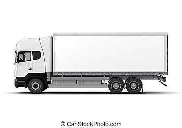 3d, camión, blanco, plano de fondo