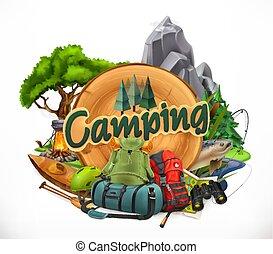 3d, campeggio, vettore, emblema