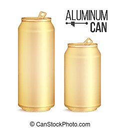 3d Cans Set Vector. Gold, Yellow Can. Beer, Lager, Alcohol,...