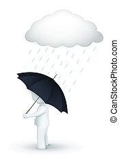 3d, carácter, ambulante, con, paraguas, en, día lluvioso