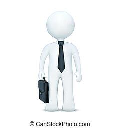 3d, carácter, con, maleta, y, llevando, corbata, posición