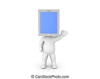 3d, carácter, con, un, tableta, pantalla la pantalla, en, el suyo, cabeza
