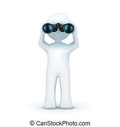 3d, carácter, mirar a través de binoculares