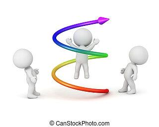 3d, caráteres, e, coloridos, espiral