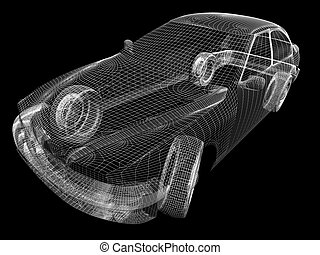 3d model of the car on a black background