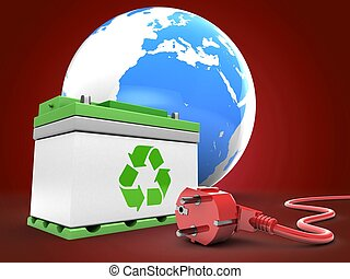 3d car battery with earth