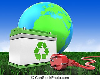 3d car battery with earth globe