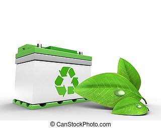 3d car battery with green leaf