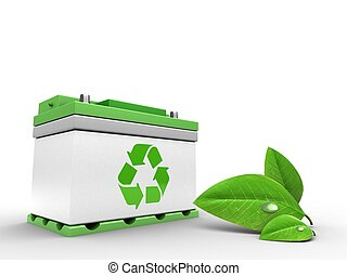 3d car battery with leaf