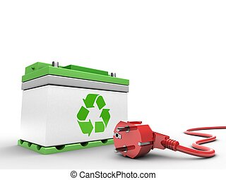 3d car battery with power cord