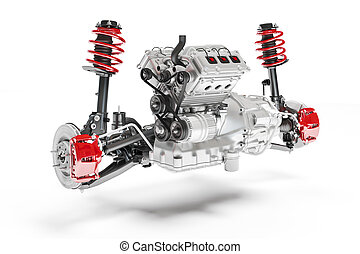 3d car chassis with moto, brake system and suspension