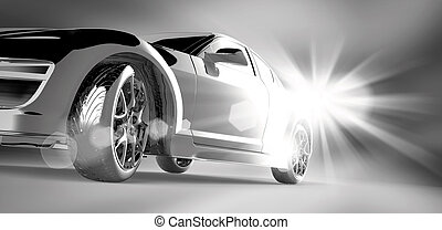 3D car design in studio