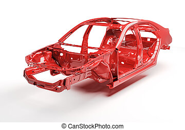 3d car frame body on white background