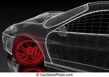 3d car mesh on a black car vehicle 3d blueprint mesh model stock 3d car mesh on a black malvernweather Gallery