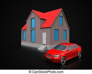 3d, car, sobre, pretas