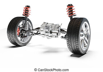 3d car suspension, on white background