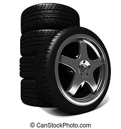 3d car tires on white background
