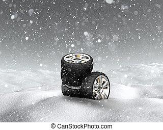 3D car wheels in snowy landscape