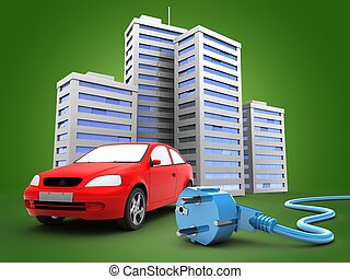 3d car with city