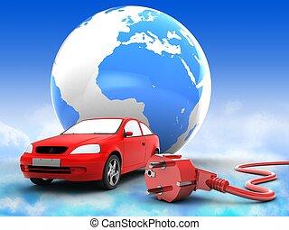 3d car with earth